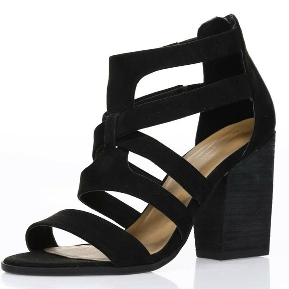 """Melrose and Market """"Rory"""" Strappy Block Heel Sandal - Black size 8.5"""
